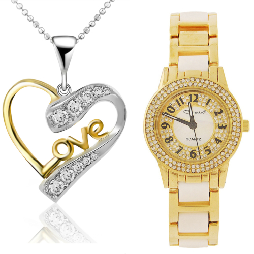 Chavin Altın Kaplama Taşlı Gümüş Kalp Kolye ve Saat Seti set20