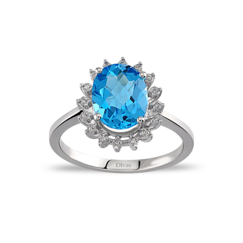 Divas Love Pırlanta Blue Topaz Altın Yüzük