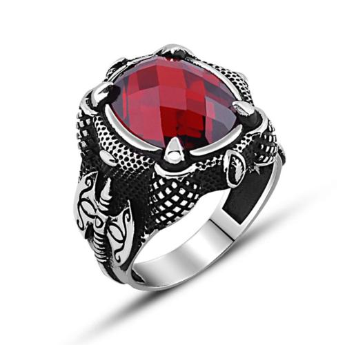 Tesbihane 925 Ayar Gümüş Balta Tasarım Kırmızı Zirkon Taşlı Yüzük