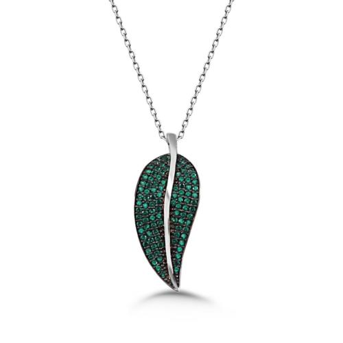 Tesbihane 925 Ayar Gümüş Yeşil Zirkon Taşlı Yaprak Kolye