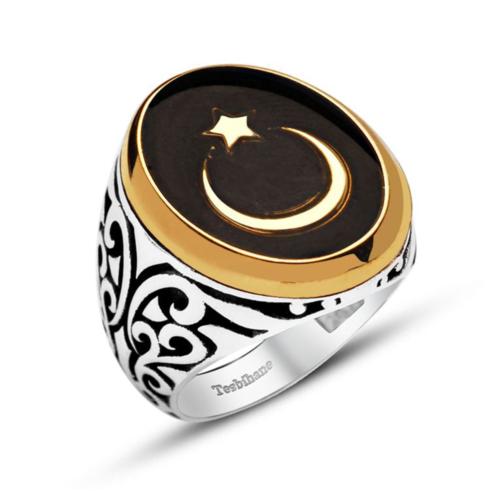 Tesbihane 925 Ayar Gümüş Siyah Mineli Ayyıldız Yüzük