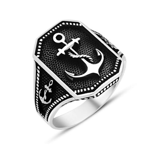Tesbihane 925 Ayar Gümüş Denizci Yüzüğü
