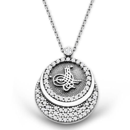 Tesbihane 925 Ayar Gümüş Zirkon Taşlı Tuğra Kolye (Model-2)