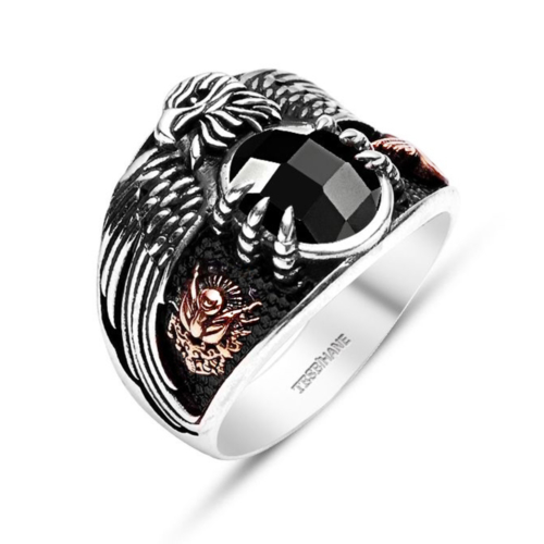 Tesbihane 925 Ayar Gümüş Son İmparator Yüzüğü (Siyah Taşlı)