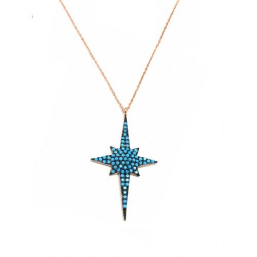 Neva Gümüş Nano Taş Şimal Yıldızı Kadın Gümüş Kolye