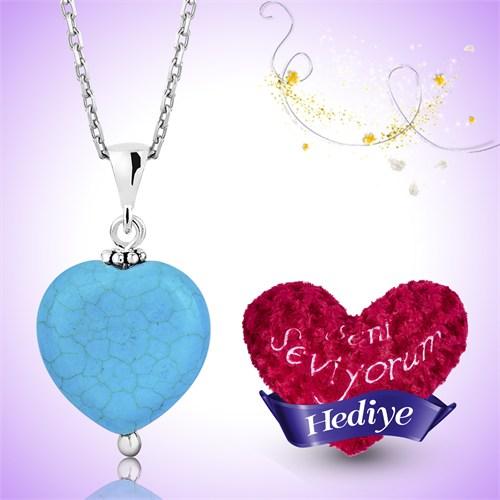 Tekbir Silver Gümüş Turkuaz Doğal Taş Kalp Kolye