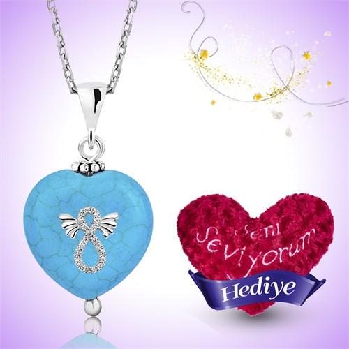 Tekbir Silver Gümüş Turkuaz Doğal Taş Kanatlı Sonsuzluk Kalp Kolye