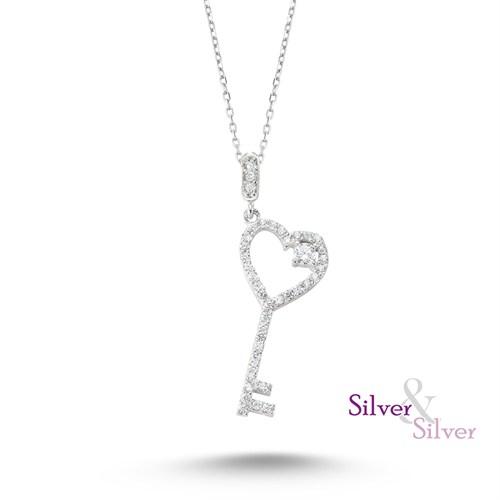 Silver & Silver Zirkon Kalbimin Anahtarı Kolye