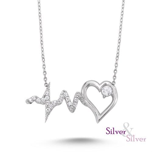 Silver & Silver Zirkon Kalbimin Ritmi Kolye