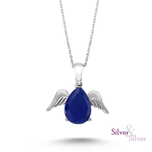 Silver & Silver Safir Taşlı Melek Kanadı Kolye