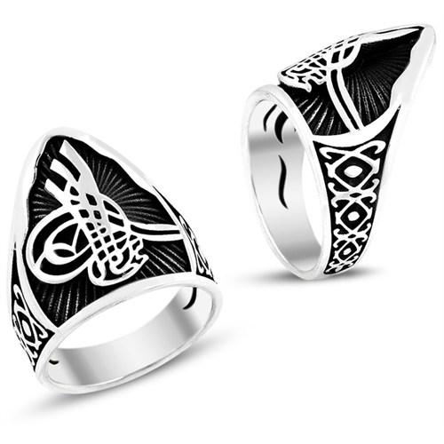 Tesbih1453 Tuğra Zihgir 925 Ayar Erkek Gümüş Yüzük