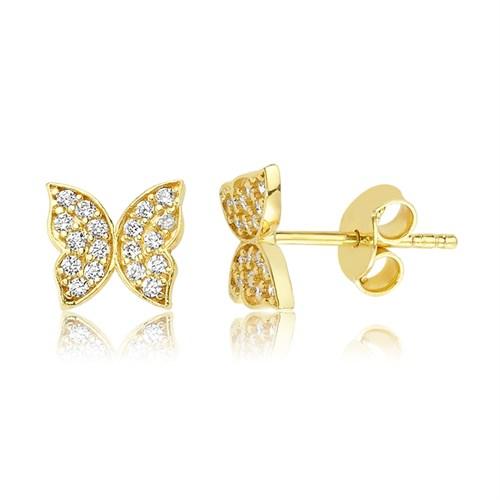 Diva 14 Ayar Altın Kelebek Küpe