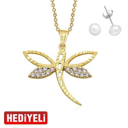 AltınSepeti Yusufçuk Altın Kolye AS8KL03 - Küpe Hediyeli!