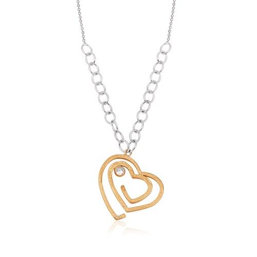 Altınsepeti Gümüş İki Renkli Kalp Kolye Asmf021457