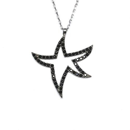 Oniks Taşlı Gümüş Kolye Yıldız T006