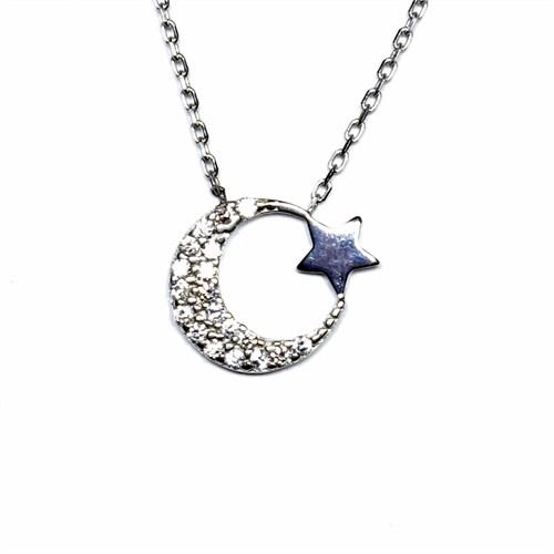Zirkon Taşlı Gümüş Kolye Ay Yıldız T019