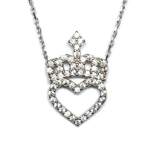 Zirkon Taşlı Gümüş Kolye Kalpli Prenses Tacı T021