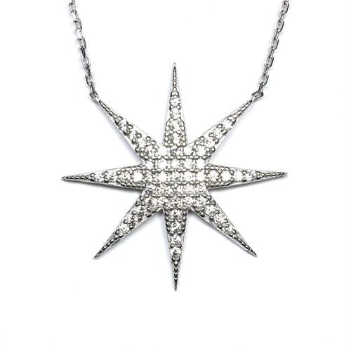 Zirkon Taşlı Gümüş Kolye Yıldız Yolu T027