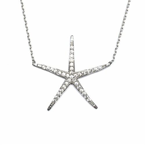 Zirkon Taşlı Gümüş Kolye Deniz Yıldızı T030
