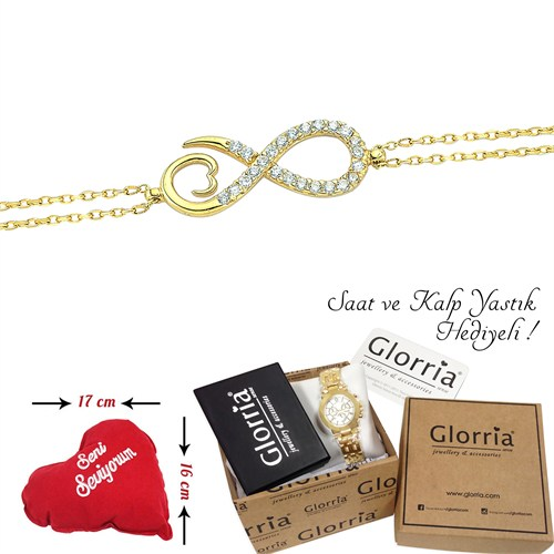 Glorria 14 Ayar Altın Sonsuzluk Bileklik - Özel Saat Hediyeli !
