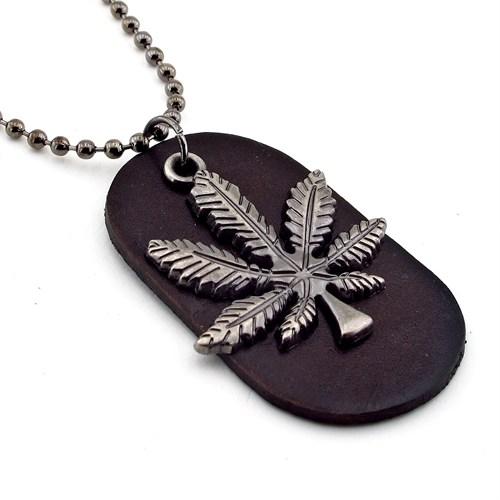 Solfera Cannabis Deri Tasarım Erkek Kolye K409