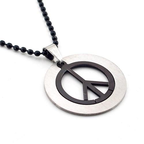 Solfera Peace Siyah Zincir Çelik Erkek Kolye Barış K478