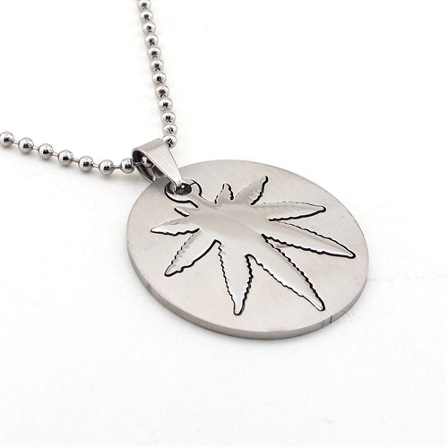 Solfera Cannabis Yaprak Paslanmaz Çelik Erkek Kolye K479