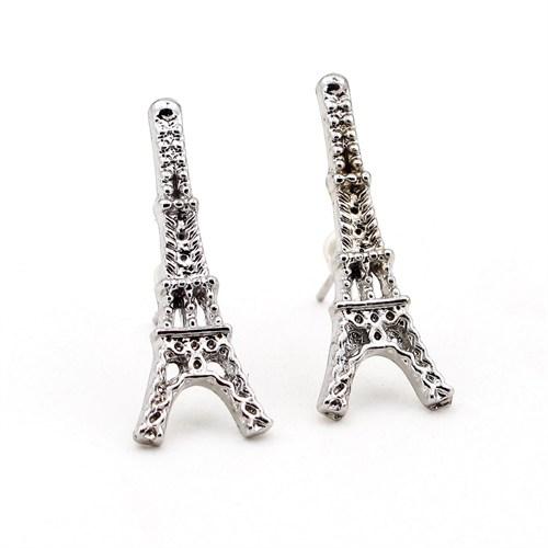 Solfera Gümüş Renkli Eyfel Kulesi Paris Bayan Küpe E306