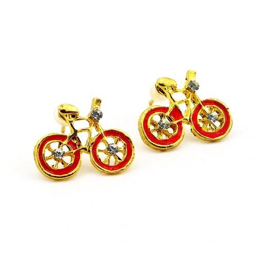 Solfera Kırmızı Tekerlekli Bisiklet Bayan Küpe E307