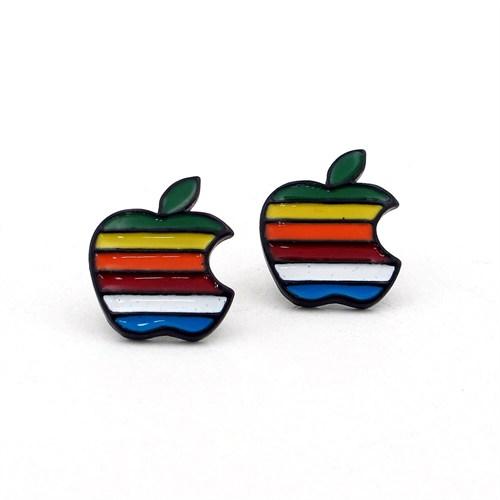 Solfera Apple Renkli Elma Tasarım Bayan Küpe E332