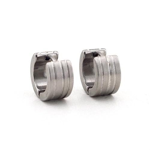 Solfera Kalın Gümüş Renk Tasarım Çelik Erkek Küpe E376