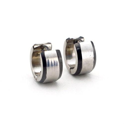 Solfera Gümüş Renk Kalın Paslanmaz Çelik Erkek Küpe E378