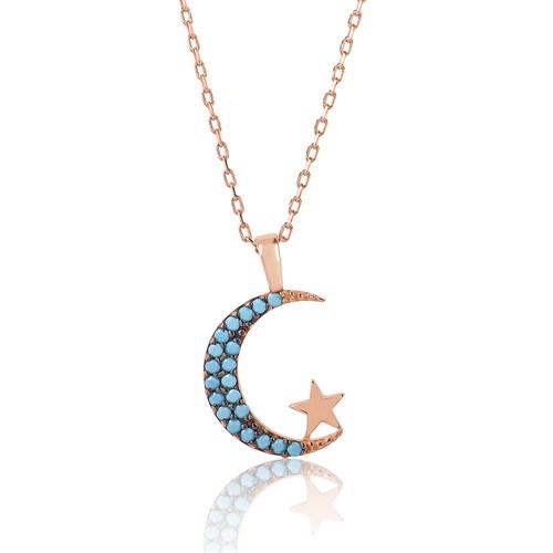 Tekbir Silver Gümüş Firuze Taşlı Ay Yıldız Kolye