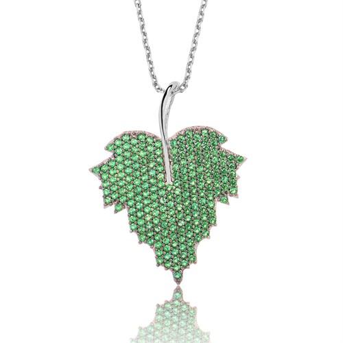 Tekbir Silver Gümüş Yeşil Yaprak Kolye