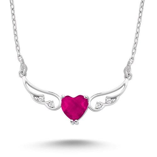 Silver & Silver Fuşya Kalp Melek Zirkon Taşlı Kolye
