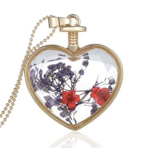Güven Altın Yaşayan Kolye Kristal Cam İçinde Kurutulmuş Çiçekler Yk10