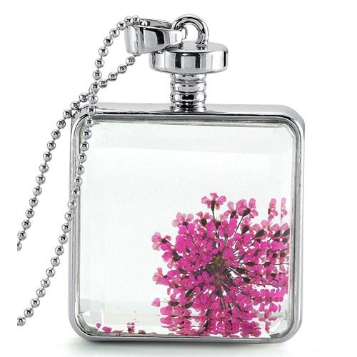 Güven Altın Yaşayan Kolye Kristal Cam İçinde Kurutulmuş Çiçekler Yk51