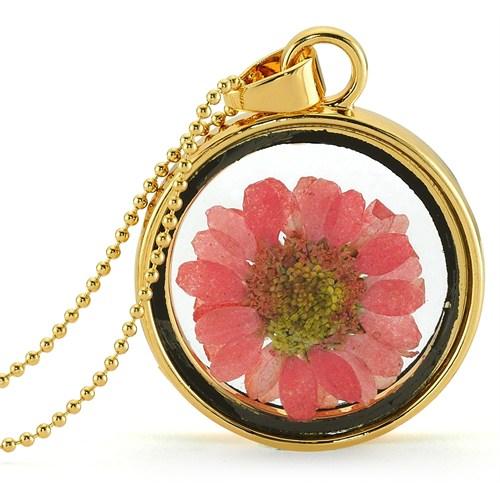 Güven Altın Yaşayan Kolye Kristal Cam İçinde Kurutulmuş Çiçekler Yk67