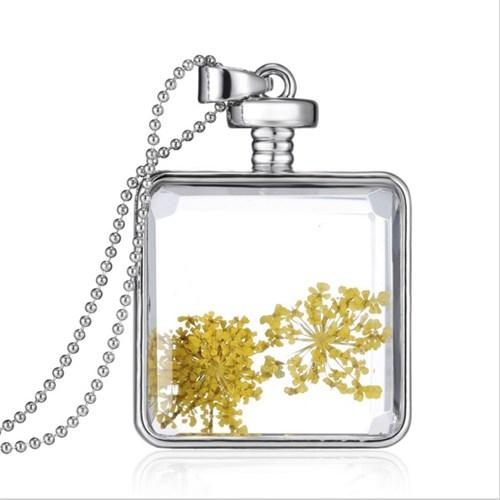 Güven Altın Yaşayan Kolye Kristal Cam İçinde Kurutulmuş Çiçekler Yk3