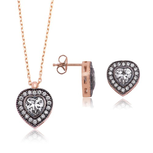 Gumush 925 Ayar Gümüş Kalp Takı Seti - ST1160071