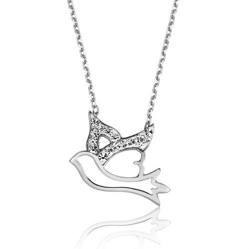 Tekbir Silver Gümüş Uçan Kuş Kolye