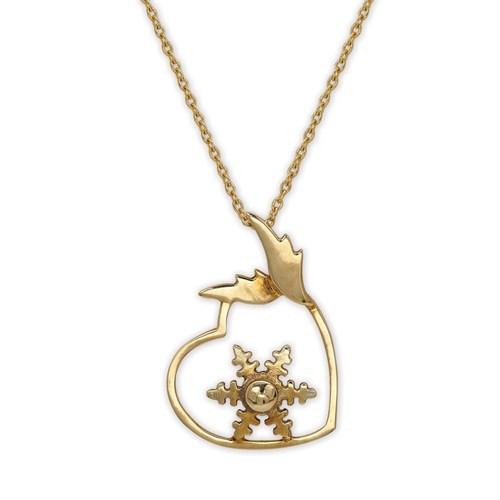 Ariş Pırlanta Kalpli Kartanesi Altın Kolye