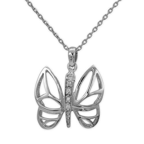 Ariş Pırlanta Pırlanta Gümüş Kelebek Kolye