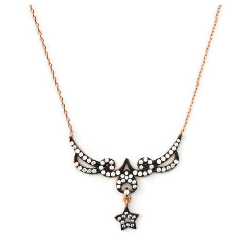 Beyazıt Takı 925 Ayar Gümüş Zirkon Ve Fantazi Taşlı Yıldız Kolyesi
