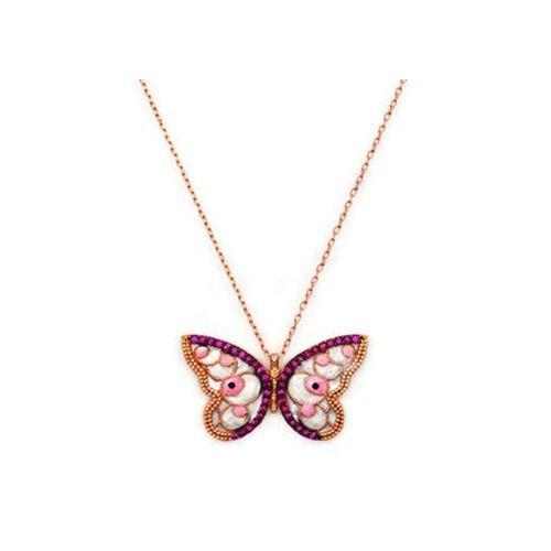 Beyazıt Takı 925 Ayar Gümüş Sedefli Taşlı Kelebek Kolyesi