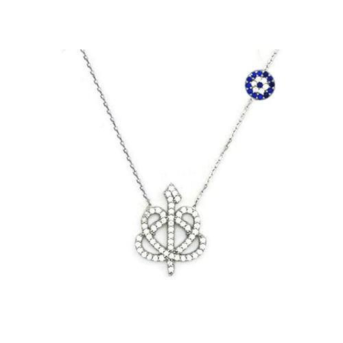 Beyazıt Takı 925 Ayar Gümüş Nazar Boncuklu Çift Vav Elif Kolyesi