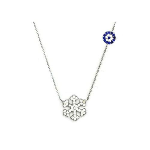 Beyazıt Takı 925 Ayar Gümüş Nazar Boncuklu Kar Tanesi Kolyesi