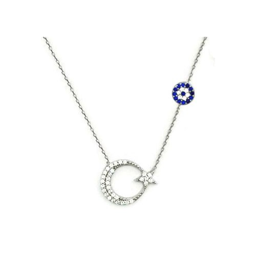 Beyazıt Takı 925 Ayar Gümüş Nazar Boncuklu Ay Yıldız Kolyesi