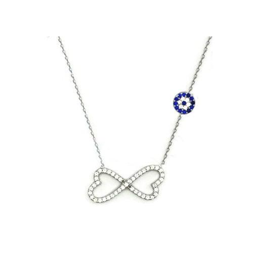 Beyazıt Takı 925 Ayar Gümüş Nazar Boncuklu Sonsuz Kalp Kolyesi