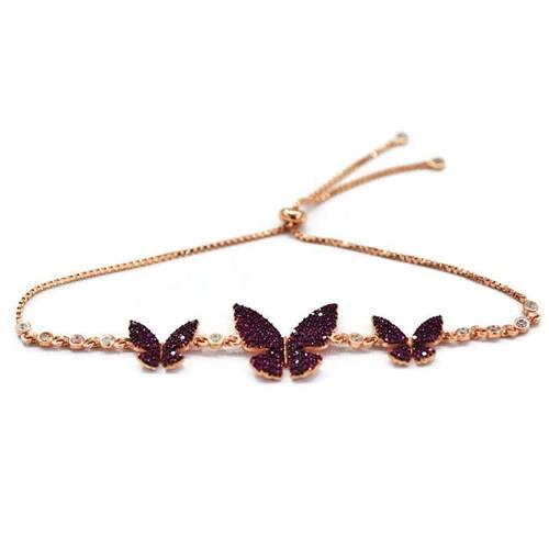 Beyazıt Takı 925 Ayar Gümüş Pembe Taşlı Kelebek Bileklik